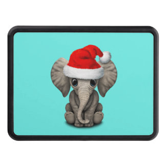 Baby Elephant Wearing a Santa Hat Trailer Hitch Cover