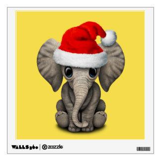 Baby Elephant Wearing a Santa Hat Wall Sticker