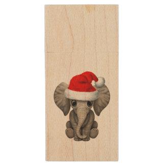 Baby Elephant Wearing a Santa Hat Wood USB Flash Drive