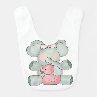 Baby Elephant White Girls Bib