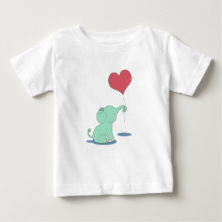 Baby elephant with a red heart balloon baby T-Shirt