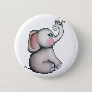 Baby Elephant with Bee Friendship Button