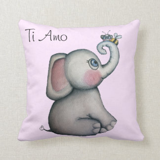 Baby Elephant with Bee Pink Throw Pillow