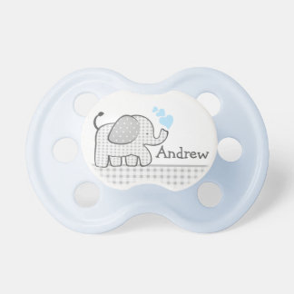 Baby Elephant with Blue Hearts Pacifier