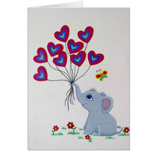 Baby Elephant with Heart Balloons Card