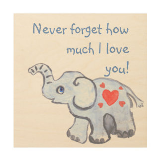 Baby elephant with love hearts wood prints