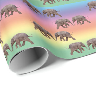 Baby Elephant Wrapping Paper (Rainbow)