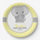 Baby Elephant (yellow) Baby Shower Paper Plate