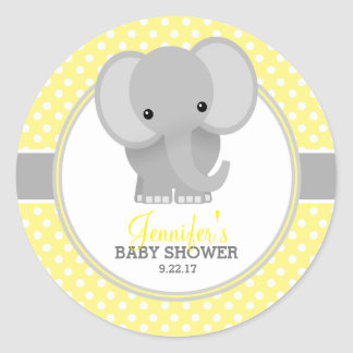 Baby Elephant (yellow) Baby Shower Round Sticker