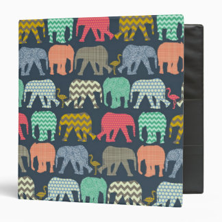 baby elephants and flamingos 3 ring binder