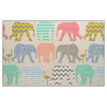 baby elephants and flamingos linen fabric