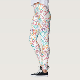 Baby Elephants And Flowers Leggings