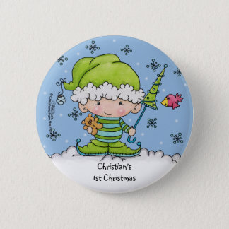 Baby Elf –Personalized !st  Christmas 2 Inch Round Button