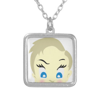 baby emoji - aggressive silver plated necklace