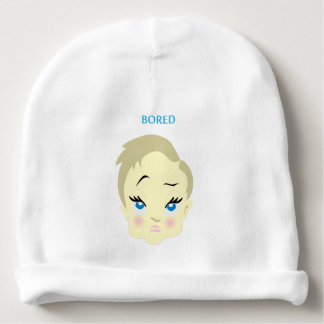 baby emoji - bored - light color baby beanie