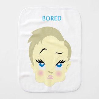 baby emoji - bored - light color burp cloth
