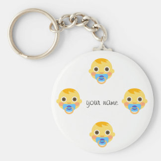"Baby Emoji Face  and '' Your Name Here "" Basic Round Button Keychain"