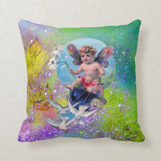 BABY FAIRY,DOVES GREEN PURPLE SPARKLES Baby Shower Throw Pillow