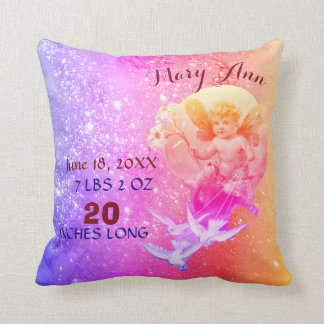 BABY FAIRY,DOVES PINK BLUE SPARKLE Baby Girl Stats Throw Pillow