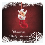 """Baby Fairy in Christmas Stocking Baby Shower 5.25"""" Square Invitation Card"""