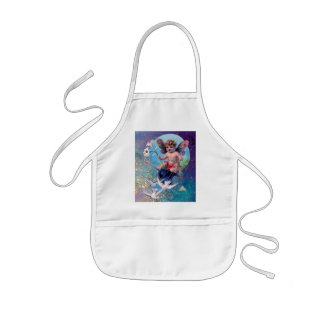 BABY FAIRY WITH DOVES IN SPARKLES blue green Kids Apron