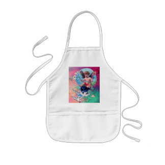 BABY FAIRY WITH DOVES IN SPARKLES pink green Kids Apron