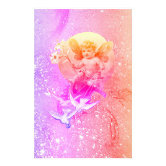 BABY FAIRY WITH DOVES PURPLE PINK SPARKLES Fantasy Stationery