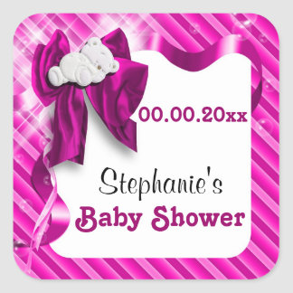 Baby favors announcement pink bear square sticker
