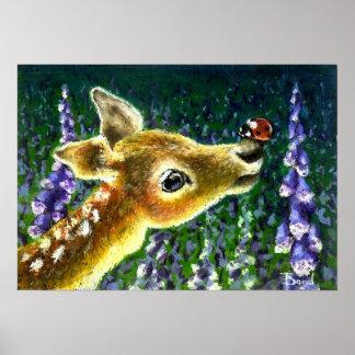 Baby fawn and ladybug art print