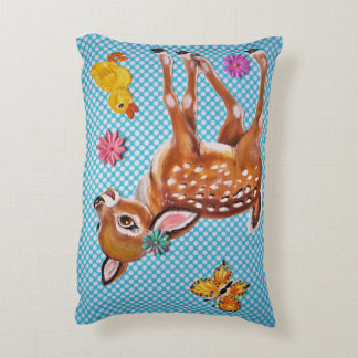Baby Fawn Nursery Pillow with Duckling, Butterfly