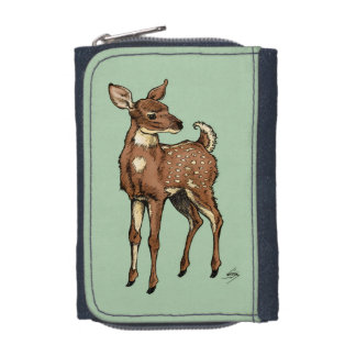 Baby Fawn with mint background Wallets