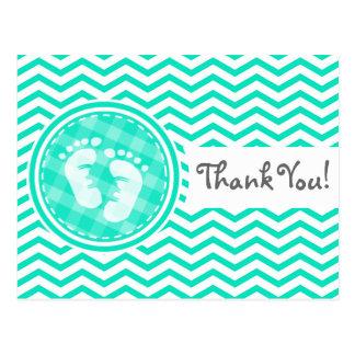 Baby Feet Aqua Green Chevron Postcard