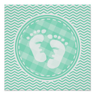 Baby Feet Aqua Green Chevron Poster