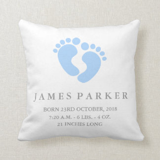 Baby Feet Baby Boy Birth Announcement Pillow