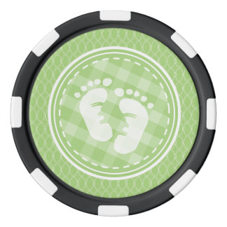 Baby Feet Baby Shower; Bright Green Ovals Poker Chips Set