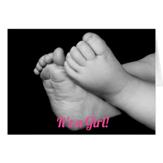 Baby Feet Black and White It's a Girl Card