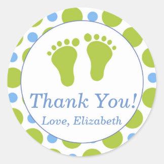 Baby Feet Blue Polka Dots Green Label Sticker