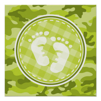 Baby Feet bright green camo camouflage Poster