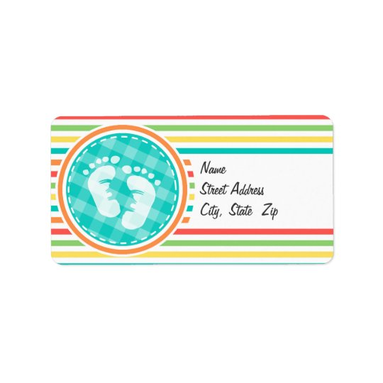 Baby Feet, Bright Rainbow Stripes Label