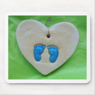 baby feet in blue mouse pad