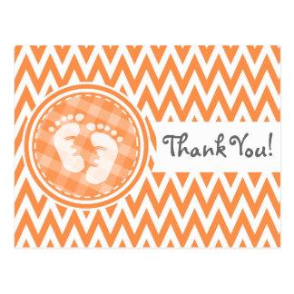 Baby Feet Orange and White Chevron Postcards