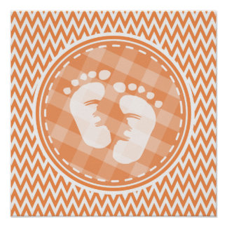 Baby Feet Orange and White Chevron Posters