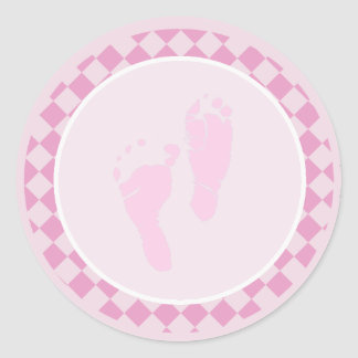 Baby Feet Pink Girl Envelope Seal Stickers