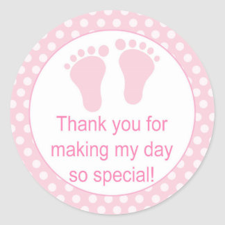 Baby feet pink polka dots labels