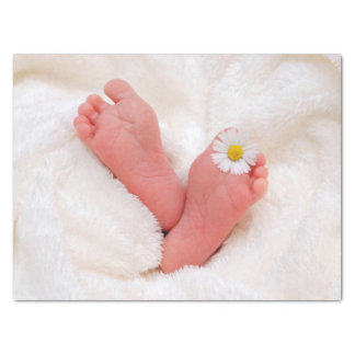 Baby Feet With Daisy Tissue Paper