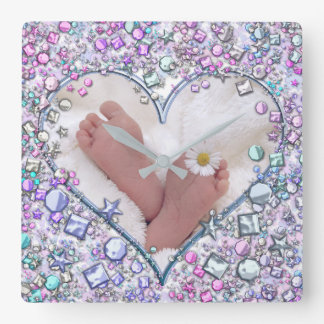 Baby feets square wall clock