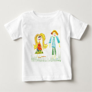 Baby Fine Jersey T-Shirt with Kid's drawing.