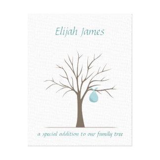 Baby Fingerprint Tree – Blue Canvas Print