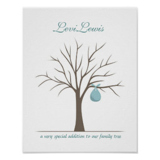 Baby Fingerprint Tree - Blue Poster