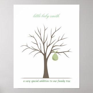 Baby Fingerprint Tree - Green Poster